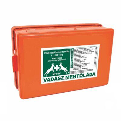 (MFV01) Vadász mentőláda elsősegély felszerelés (1-30 főig) narancs